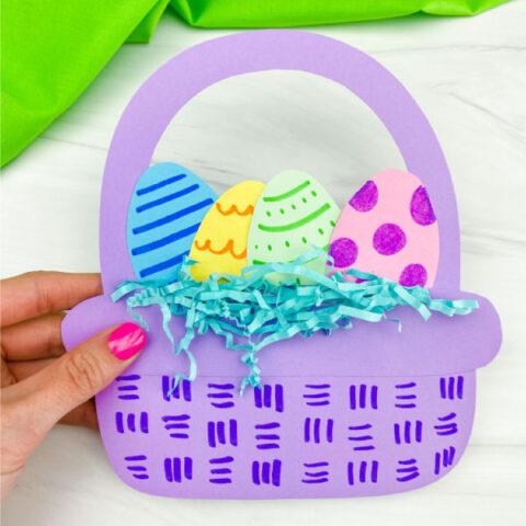 purple paper Easter basket craft