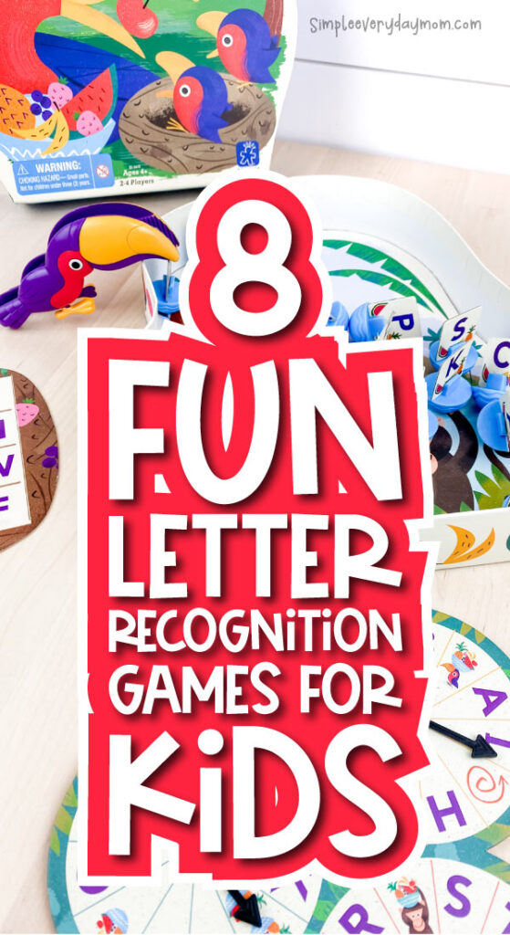 letter recognition game image with the words 8 fun letter recognition games for kids