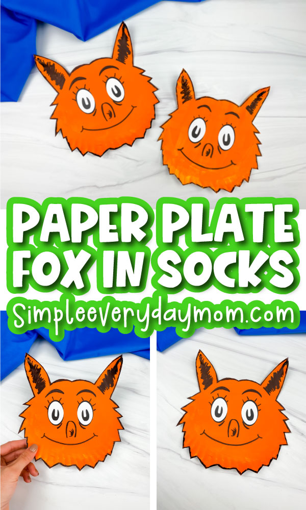 paper plate fox in socks craft image collage with the words paper plate fox in socks in the middle