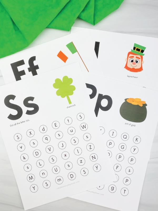 st patricks day do a dot letter printables