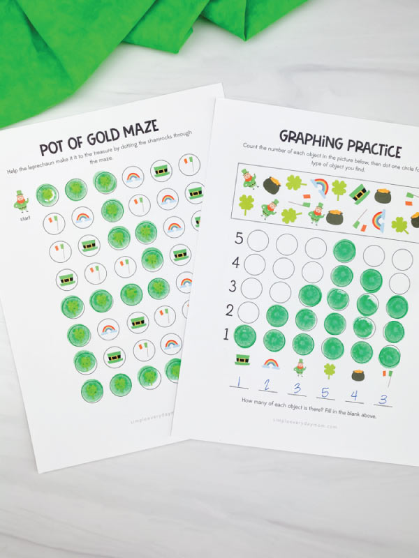st patricks day do a dot graphing printables