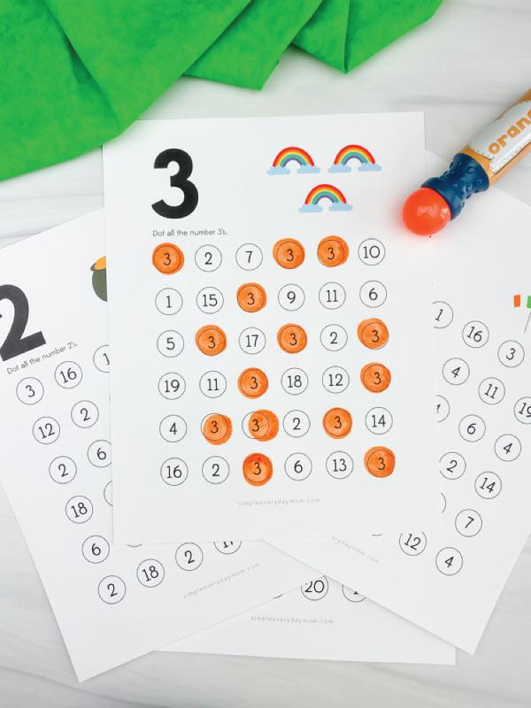 st patricks day do a dot number printables