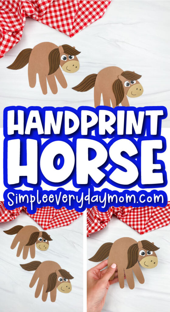 handprint horse craft image collage with the words handprint horse in the middle
