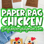 paper bag chicken craft image collage with the words paper bag chicken in the middle
