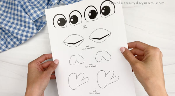 hand holding paper bag chicken craft template