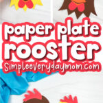 paper plate rooster craft image collage with the words paper plate rooster in the middle