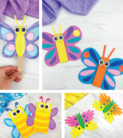 butterfly crafts for kids image collage