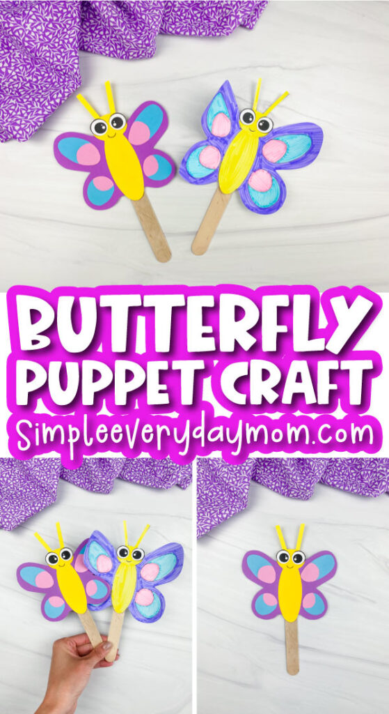 butterfly stick puppet craft image collage with the words butterfly puppet craft in the middle