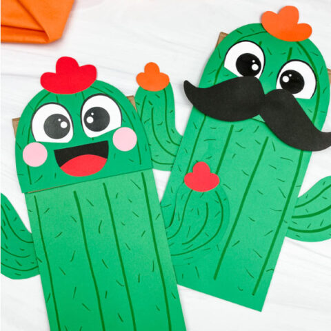 two paper bag cactus crafts