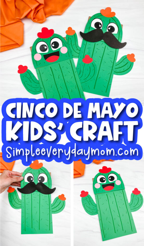 paper bag cactus craft image collage with the words cinco de mayo kids' craft in the middle