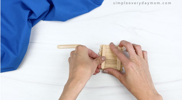 hand glue mini popsicle stick together