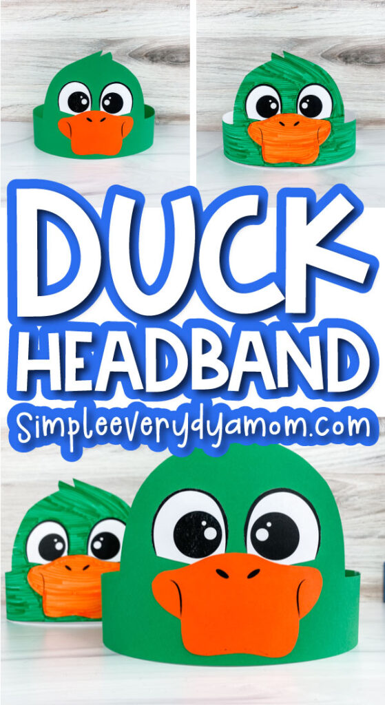 duck headband craft image collage with the words duck headband in the middle