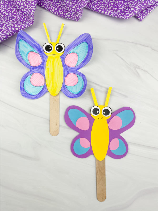 2 butterfly stick puppets