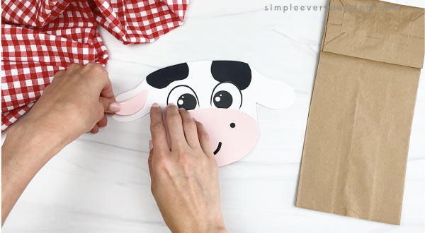 hand gluing inner ears to paper bag cow craft