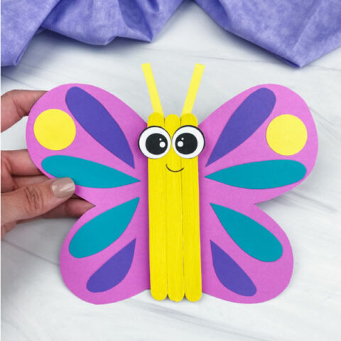 hand holding popsicle stick butterfly craft