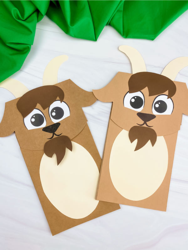 two paper bag goat crafts