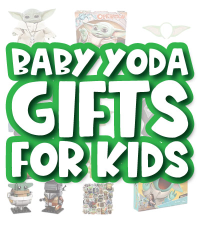 baby yoda gift image collage with the words baby yoda gifts for kids in the middle