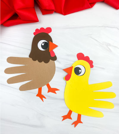 two handprint chicken crafts