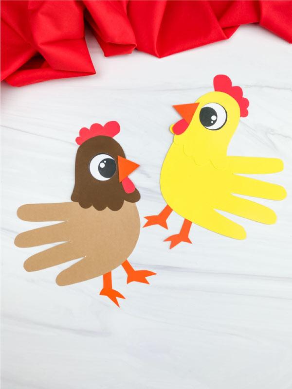 two handprint chicken crafts