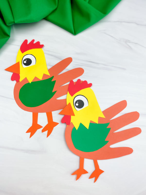 two handprint rooster crafts