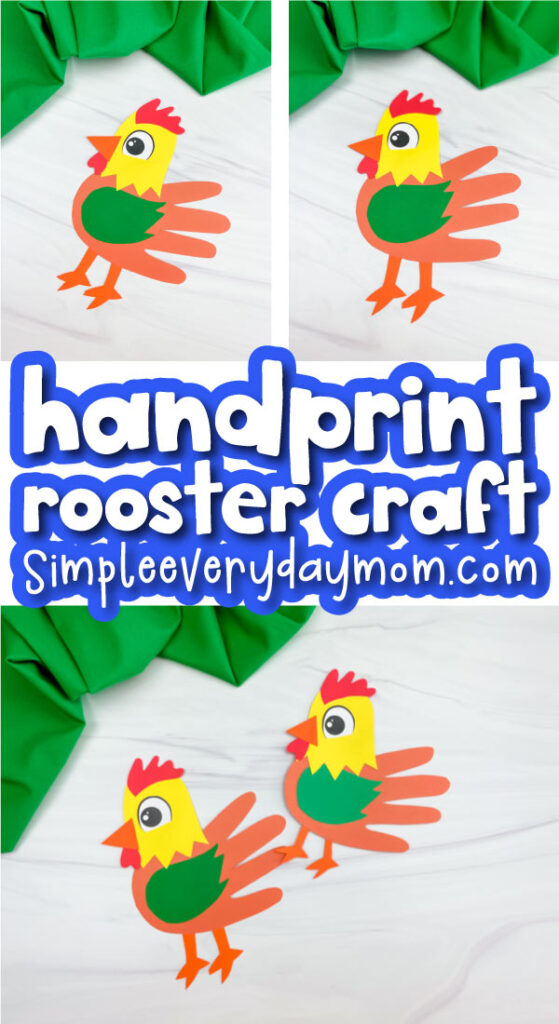 handprint rooster craft image collage with the words handprint rooster craft in the middle