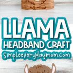 llama headband craft image collage with the words llama headband craft in the middle