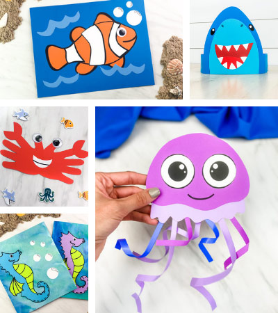 ocean crafts for kids image collage with the words ocean animal crafts for kids in the middle