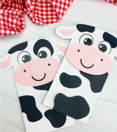 2 paper bag cow crafts