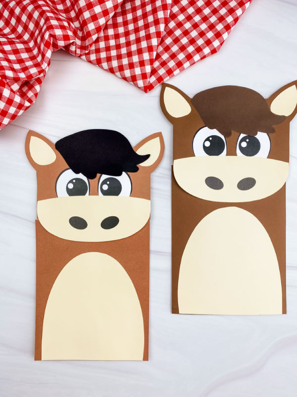 two paper bag horse crafts