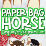 paper bag horse image collage with the words paper bag horse in the middle