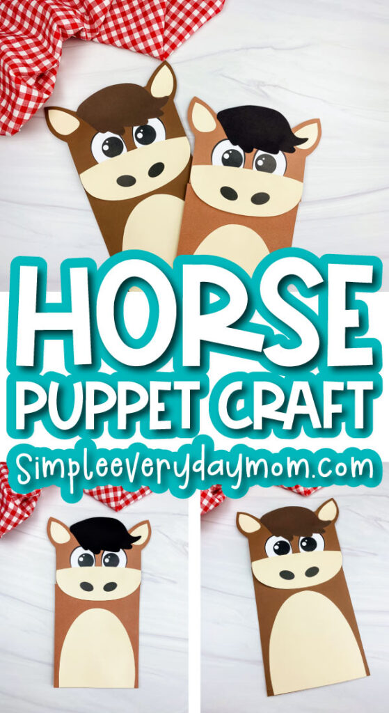 paper bag horse craft image collage with the words horse puppet craft in the middle