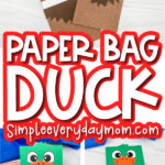 duck paper bag craft image collage with the words paper bag duck in the middle
