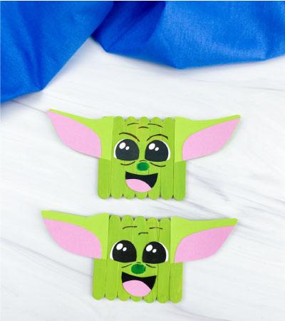 2 popsicle stick baby yoda crafts