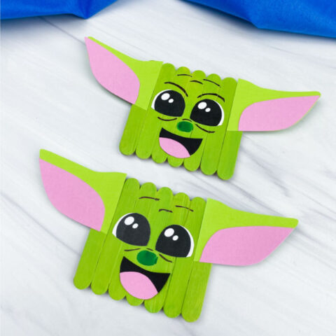 2 popsicle stick baby yoda crafts