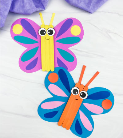 2 popsicle stick butterfly crafts