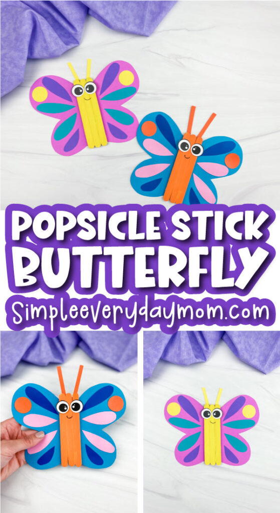 popsicle stick butterfly craft image collage with the words popsicle stick butterfly in the middle