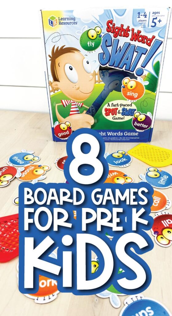 kids board game with the words 8 board games for pre k kids in the middle