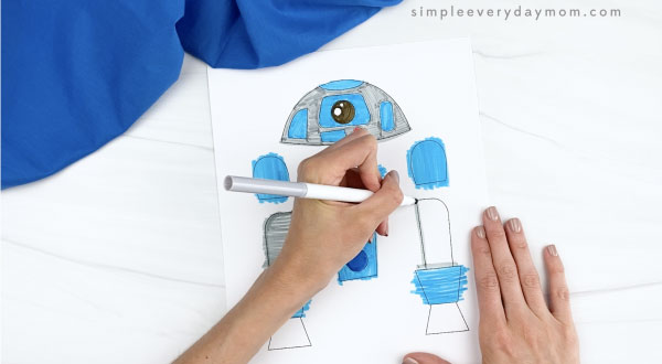 hand coloring in handprint r2d2 template