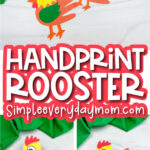 handprint rooster craft image collage with the words handprint rooster in the middle