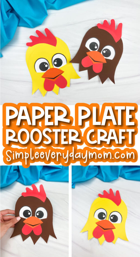paper plate rooster craft image collage with the words paper plate rooster craft in the middle