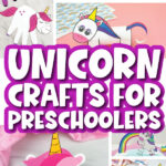 unicorn crafts image collage with the words unicorn crafts for preschoolers in the middle