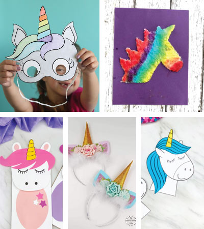 unicorn crafts for birthday party image collage