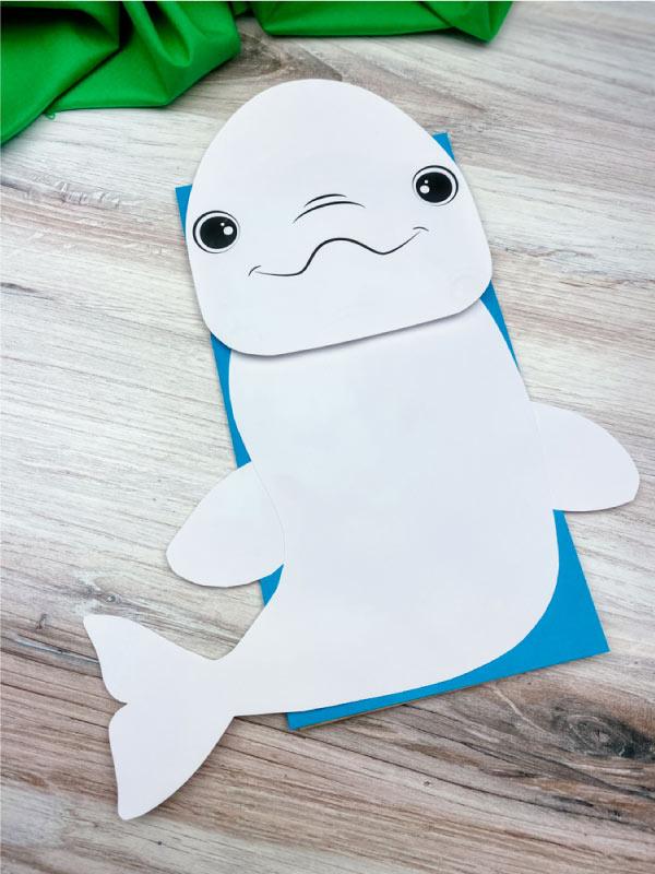 paper bag beluga whale craft