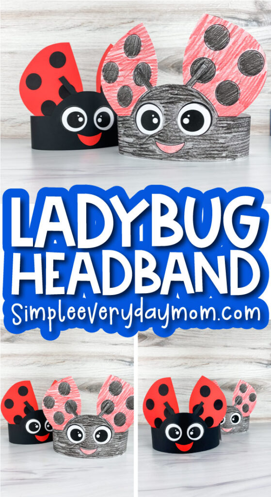 ladybug headband craft image collage with the words ladybug headband in the middle