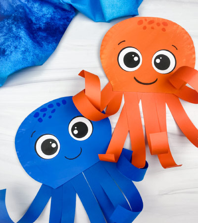 2 paper plate octopus crafts