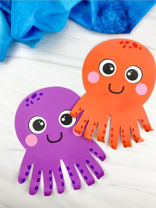 2 handprint octopus crafts