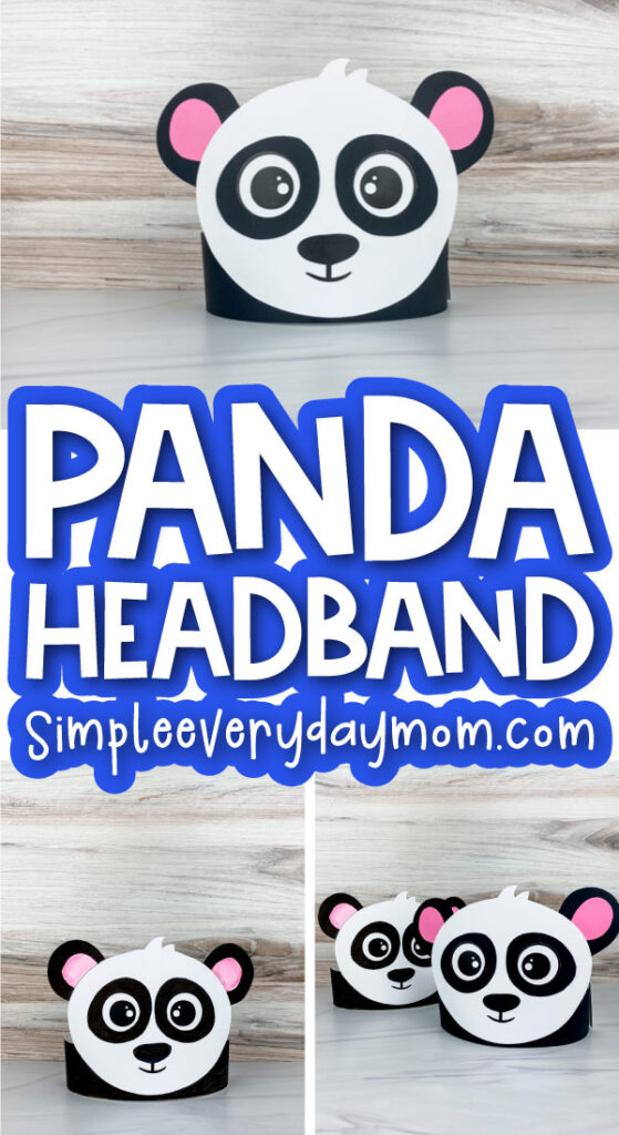 panda headband template image collage with the words panda headband in the middle