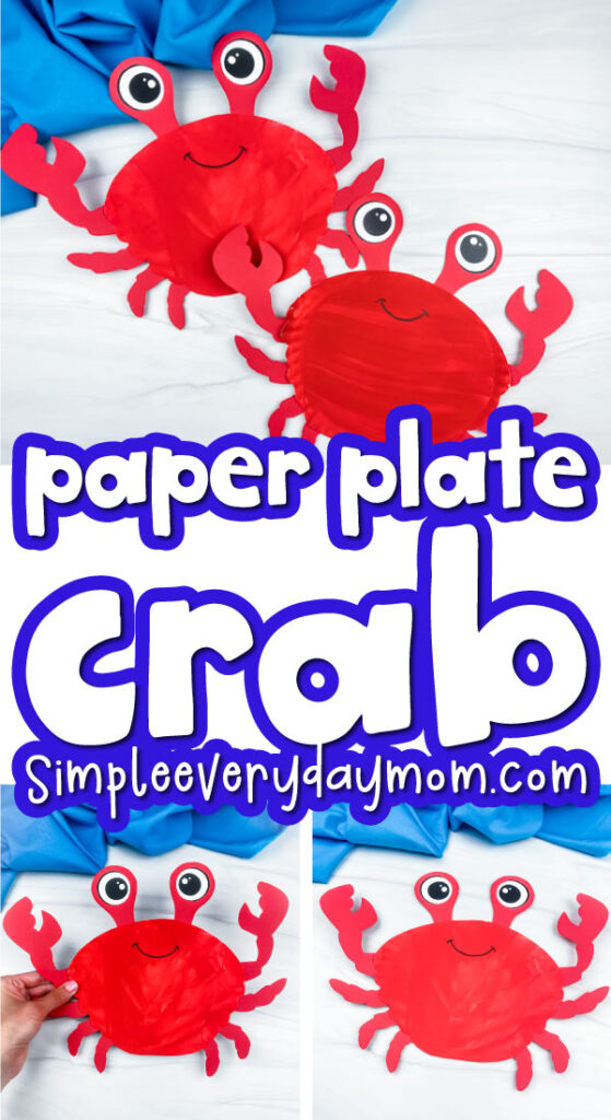 paper plate crab craft image collage with the words paper plate crab in the middle