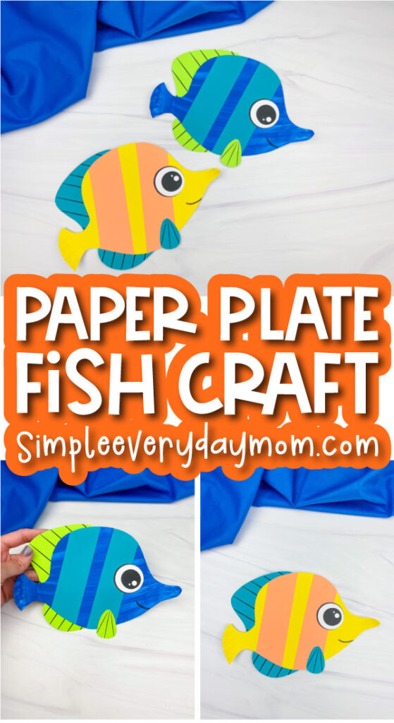 paper plate fish craft image collage with the words paper plate fish craft in the middle