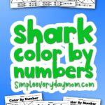 shark color by number with the words shark color by numbers in the middle